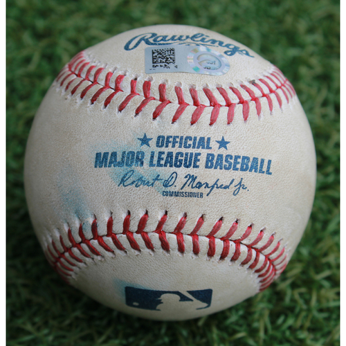 Photo of Game-Used Baseball: Cory Gearrin Pitched Strikeout to Chris Owings (SEA @ KC - 4/11/19)
