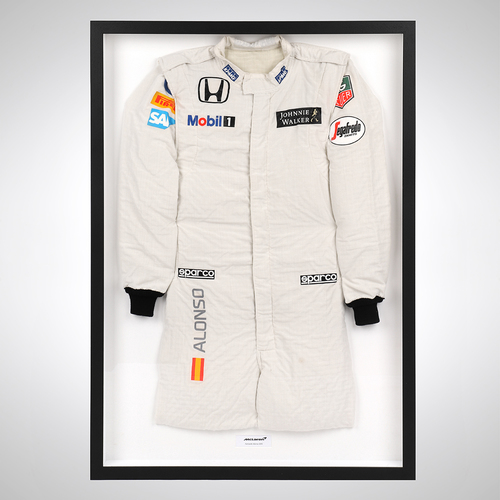 Photo of Fernando Alonso 2015 Framed Race-worn Race Suit - McLaren