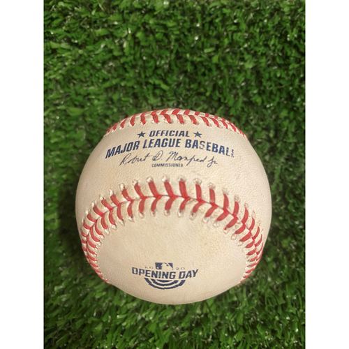 Photo of Ronald Acuna Jr. Game Used Hit Single Baseball - July 29, 2020 - Opening Day at Truist Park
