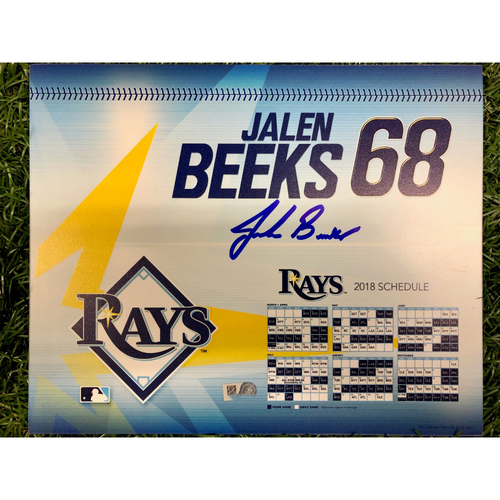 Photo of Rays Baseball Foundation: Game Used Autographed Locker Tag: Jalen Beeks - Rookie Season - September 27, 2018 v NYY