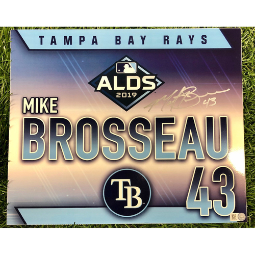 Photo of Rays Baseball Foundation: Team Issued Autographed Locker Tag: Michael Brosseau - Rookie Season - 2019 ALDS