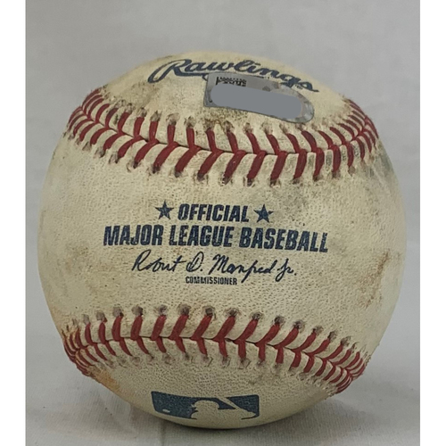 Photo of Justin Verlander Career Strikeout #2600 Game-Used Baseball: Pitcher: Justin Verlander, Batter: Shin-Soo Choo - Strikeout - Top 1 - 7/28/18