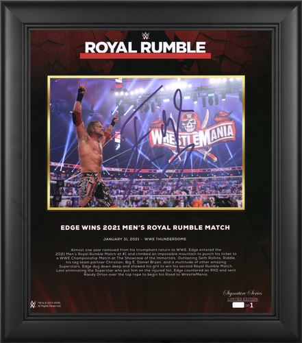 Edge SIGNED Royal Rumble 2021 Signature Series Plaque (#1 of 1)