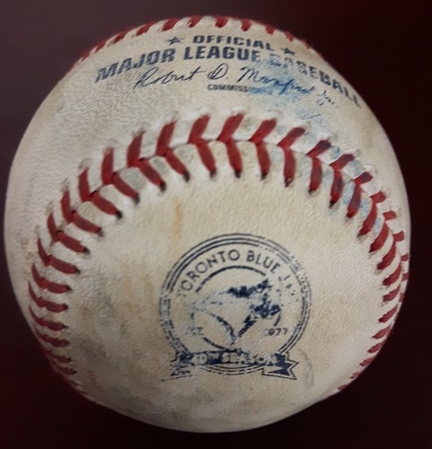 Photo of Authenticated Player Collected Baseball - Home Run by #3 Ezequiel Carrera (6th of the Season) vs Kevin Gausman on September 27, 2016 (Bottom 3).
