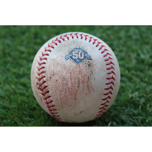 Photo of Game-Used Baseball: Greg Allen 59th Career Hit (CLE @ KC - 8/24/18)
