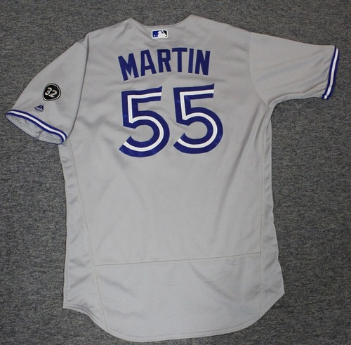 Photo of Authenticated Game Used Jersey - #55 Russell Martin (Aug 15, 2018: 1-for-3 with 1 Run and 1 BB). Size 46.