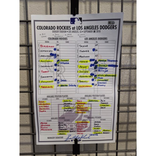 Photo of Colorado Rockies Game-Used 25th Anniversary Lineup Card - Rockies v. Dodgers - September 18, 2018