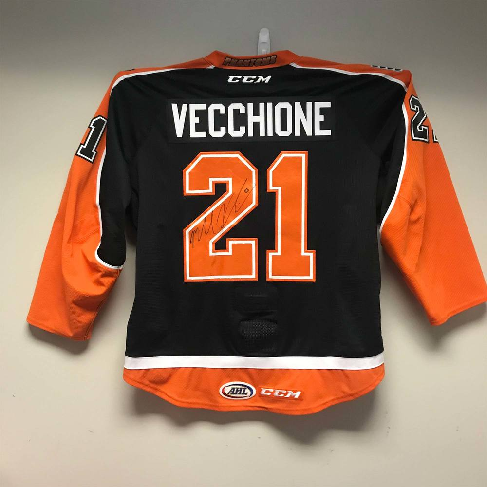 Lehigh Valley Phantoms Third Jersey worn and signed by #21 Mike Vecchione