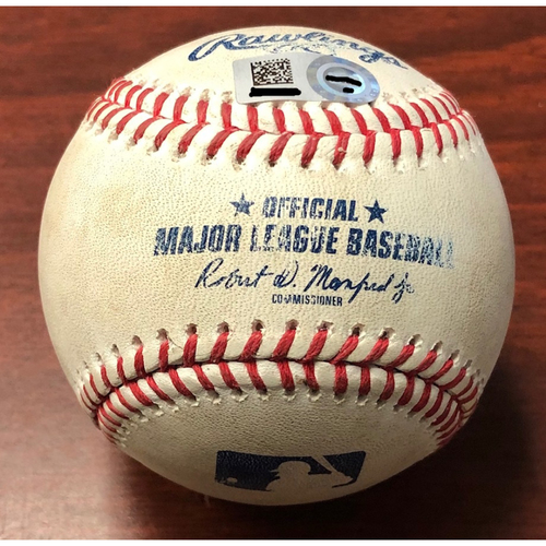 Photo of Game Used Baseball: Jake Fraley (MLB DEBUT) hit by pitch against Emilio Pagan - August 21, 2019 v SEA