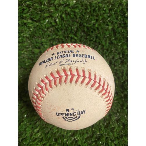 Photo of Ozzie Albies Game Used Hit Single Baseball - July 29, 2020 - Opening Day at Truist Park