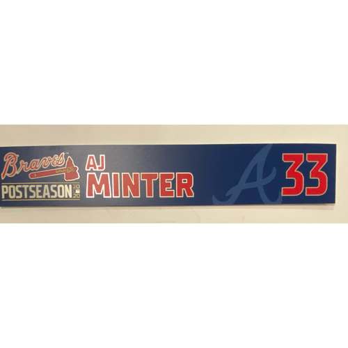 Photo of AJ Minter Game-Used 2020 Postseason Locker Nameplate - September 30, 2020 - Wild Card Game 1