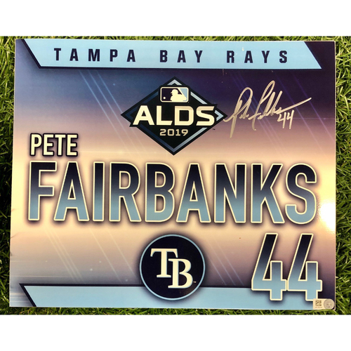 Photo of Rays Baseball Foundation: Team Issued Autographed Locker Tag: Pete Fairbanks - 2019 ALDS