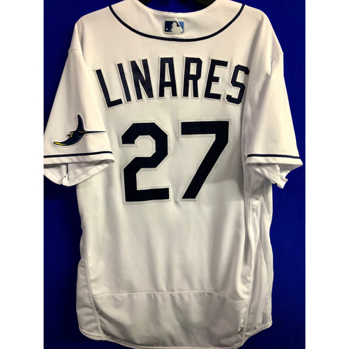 Photo of Game Used ALCS Game #7 Home White Jersey: Rodney Linares - October 17, 2020 v HOU
