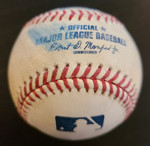 Photo of Authenticated Game Used Baseball: Strikeout by Aaron Nola against Rowdy Tellez (May 15, 2021 vs PHI). Bottom 6. Game played in Dunedin, FL.