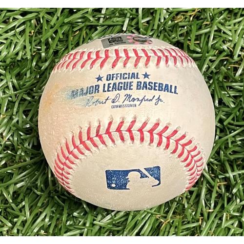 Photo of Game Used Baseball: Hyun-Jin Ryu strikes out Mike Brosseau - Louis Head MLB Debut - Bottom 4 - April 25, 2021