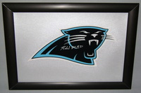 PANTHERS - RICHARD MARSHALL SIGNED PANTHERS DECAL WITHIN 8.5 X 11 PICTURE FRAME