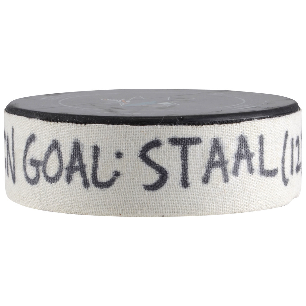 Eric Staal Minnesota Wild Game-Used Goal Puck from December 10, 2017 vs. San Jose Sharks - Second Goal of Two Goals Scored