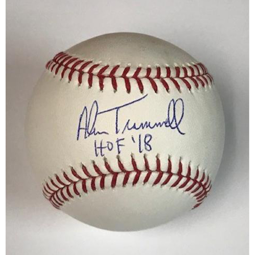 Photo of Alan Trammell Autographed Inscribed HOF 18 Baseball