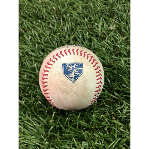 Photo of 20th Anniversary Game Used Baseball: Ji-Man Choi single and Joey Wendle foul ball off Adam Warren - July 23, 2018 v NYY