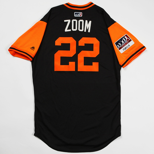 "Photo of Andrew ""Zoom"" McCutchen San Francisco Giants Game-Used 2018 Players' Weekend Jersey"