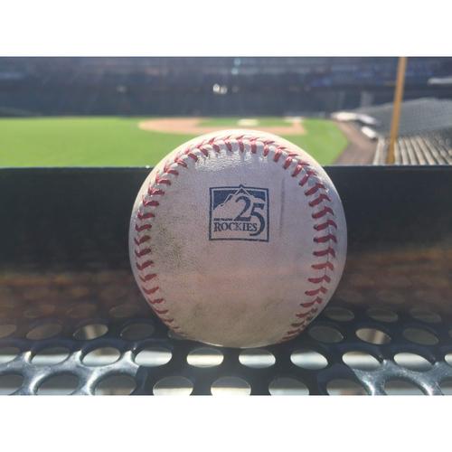 Photo of Colorado Rockies Game-Used Baseball - Bettis v. Longoria - 2-Run Triple (4) to Gonzalez, Garcia and Slater scores - September 3, 2018