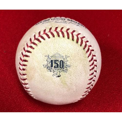 Photo of Game-Used Baseball -- 09/02/2019 - PHI vs. CIN - 8th Inning - Suarez to Senzel (Single)