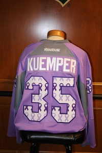 MN Wild #35 Darcy Kuemper Signed, Player Worn Hockey Fights Cancer Wild Jersey