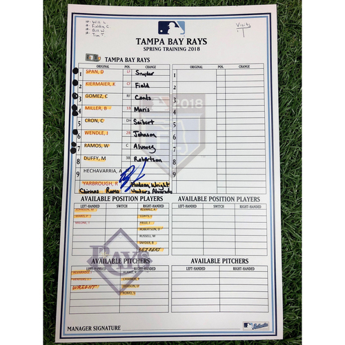 Photo of Rays Baseball Foundation: Autographed Replica Lineup Card - Ryan Yarbrough - Rookie Season - 2018