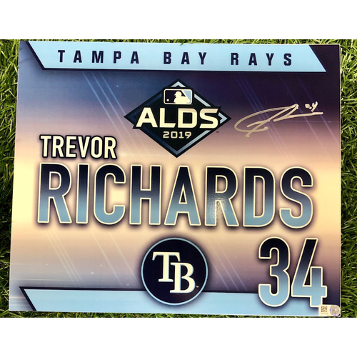 Photo of Rays Baseball Foundation: Team Issued Autographed Locker Tag: Trevor Richards - 2019 ALDS