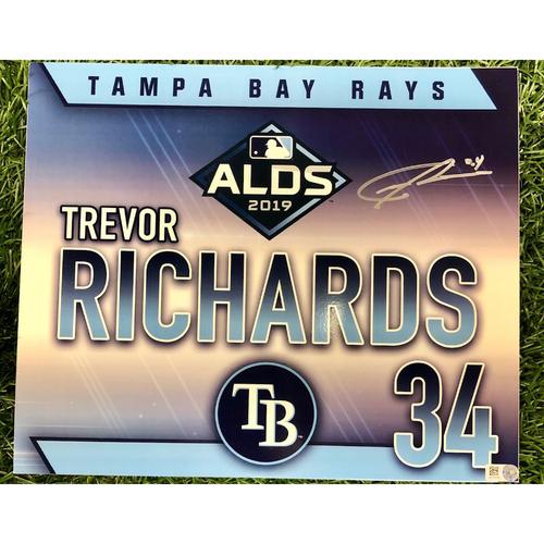 Photo of Rays Baseball Foundation: Team Issued Autographed Locker Tag: Trevor Richards - 2019 ALDS