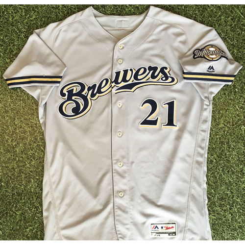 Photo of Travis Shaw 03/29/18 Game-Used Opening Day Jersey - 1-5, 2B