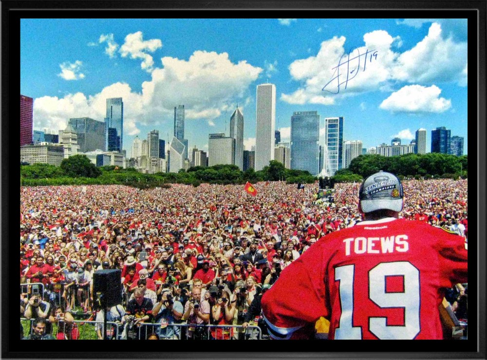 Jonathan Toews - Signed & Framed 24x35 Canvas - Chicago Blackhawks Stanley Cup Rally 2013