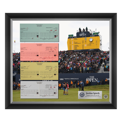Photo of 1 of 200 L/E Jordan Spieth, Champion Golfer of Year, The 146th Open 1,2,3 and Final Round Scorecard Reproductions Framed