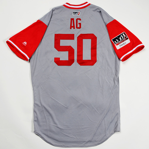 "Photo of Amir ""AG"" Garrett Cincinnati Reds Game-Used 2018 Players' Weekend Jersey"