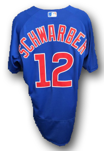 Photo of Kyle Schwarber Game-Used Jersey -- Schwarber 2nd HR -- Cubs at Rangers -- 3/31/19 -- Size 46