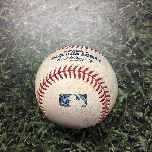 Photo of Game-Used Baseball ATL@MIL 07/15/19 - Adrian Houser - Josh Donaldson: Single