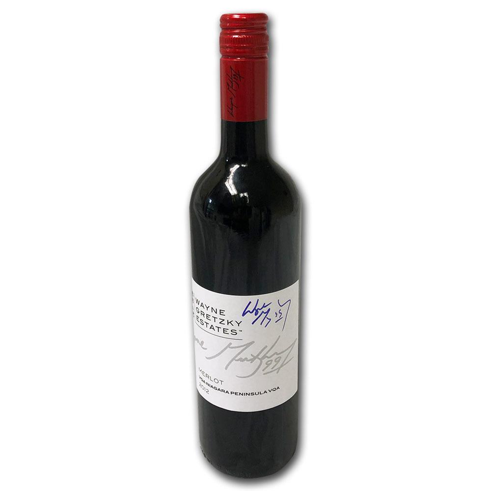 Wayne Gretzky Autographed Wayne Gretzky Estates 2012 Merlot Wine Bottle