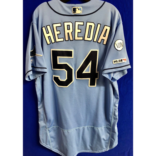 Photo of Game Used Home Columbia Blue Jersey: Guillermo Heredia - March 31, 2019 v HOU