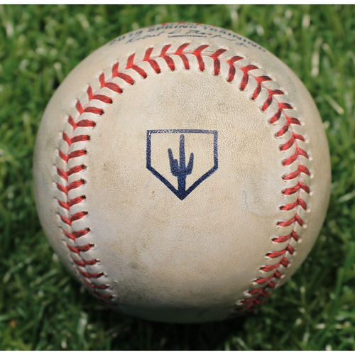 Photo of Game-Used 2019 Spring Training Baseball: Brad Boxberger Strikeout (KC @ OMA 3/25/19)