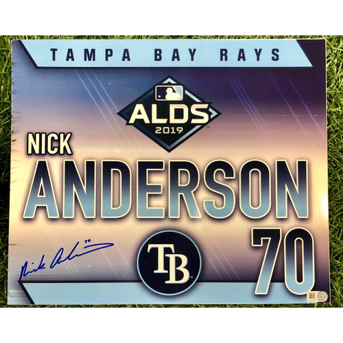 Photo of Rays Baseball Foundation: Game Used Autographed Locker Tag: Nick Anderson - Rookie Season - ALDS - October 7, 2019 v HOU