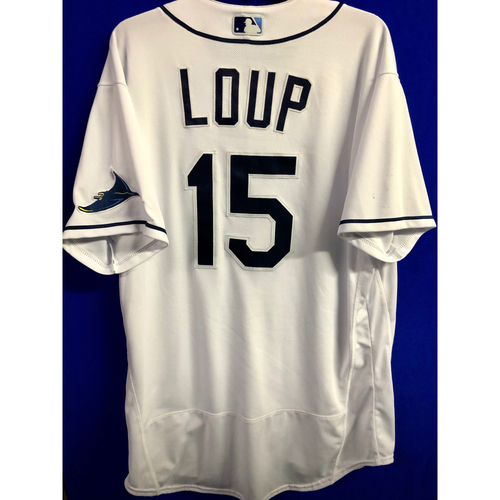 Photo of Game Used ALCS Game #7 Home White Jersey: Aaron Loup - October 17, 2020 v HOU