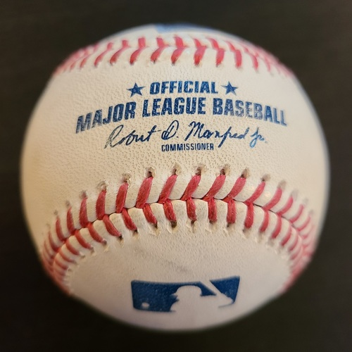 Photo of Authenticated Game Used Baseball: Strikeout by Hyun-Jin Ryu against Enrique Hernandez, Alex Verdugo Single (May 18, 2021 vs BOS). Top 1. Game played in Dunedin, FL.