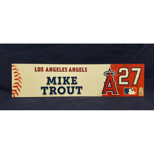 Mike Trout Game-Used Locker Tag from Players Weekend