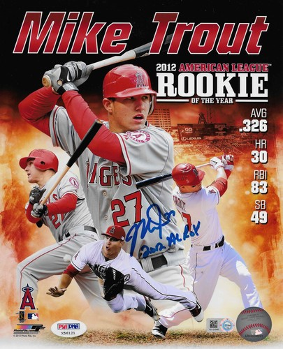 "Photo of Mike Trout ""2012 AL ROY"" Autographed 8x10 Collage (Rookie Season)"
