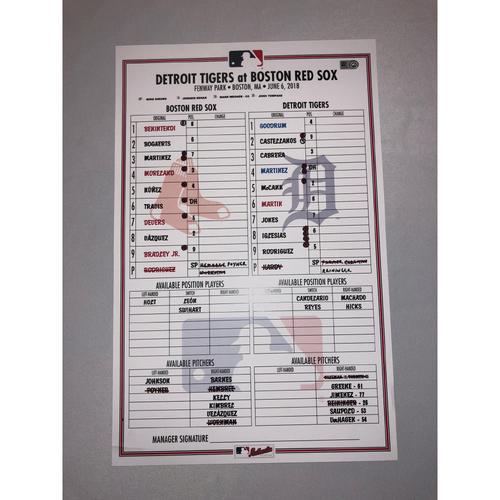 Photo of Tigers at Red Sox June 6, 2018 Game-Used Lineup Card - Red Sox Win 7 to 1