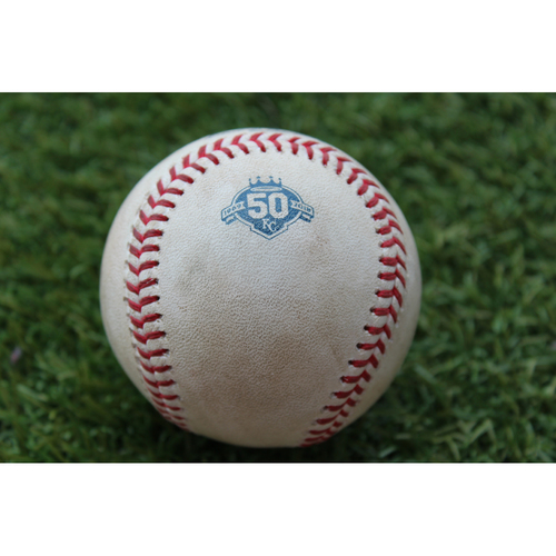 Photo of Game-Used Baseball: Mikie Mahtook 195th Career Hit and 83rd Career RBI (DET @ KC - 8/29/18)