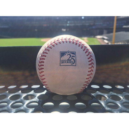 Photo of Colorado Rockies Game-Used Baseball - Corbin v. Gray - Double (2) to Pollock - September 12, 2018