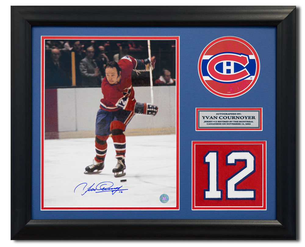 Yvan Cournoyer Montreal Canadiens Signed Retired Jersey Number 23x19 Frame