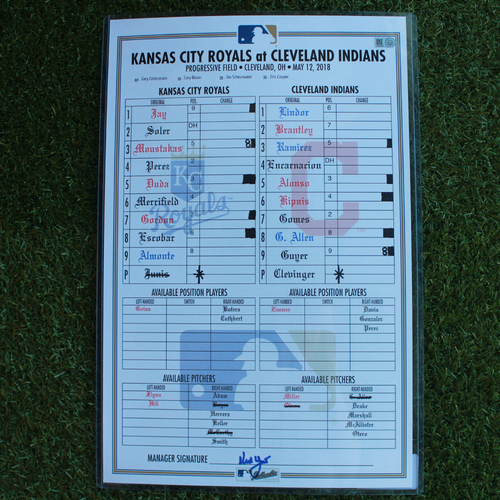 Photo of Game-Used Line-Up Card: Francisco Lindor 71st and 72nd Career Home Runs (KC @ CLE - 5/12/18)
