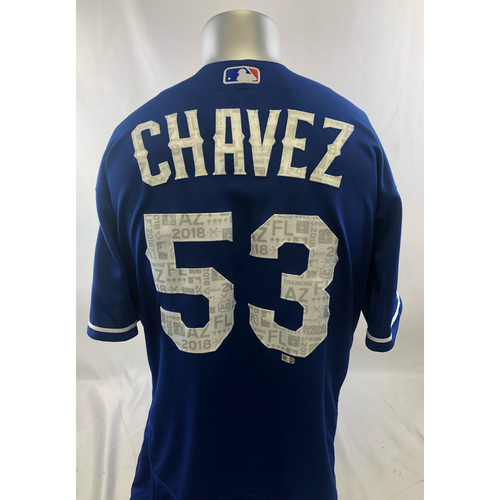 Blue Game-Used Spring Training Jersey - Jesse Chavez